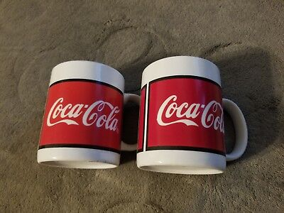 Coca Cola Ceramic Coffee Cup Mug 1996 by Gibson -- Red & White set of 2