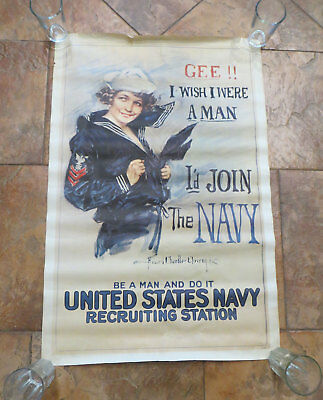 """Vintage 1974 """" Gee!! I wish I were a Man I'd join the Navy """" Poster - RAD 73714"""