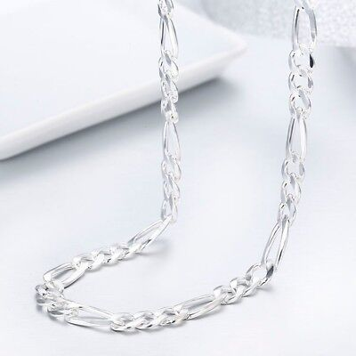 **Sale** 5.5MM 925 Sterling Silver Italian Figaro Chain Necklace (24 inches)