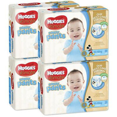 Huggies 124PK Ultimate Size 4 Boys 10-15kg Toddler Nappies Pants/Nappy/Diaper