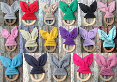 Safety Wooden Natural Baby Rabbit Teething Ring Teether Bunny  Babies Teethers Z