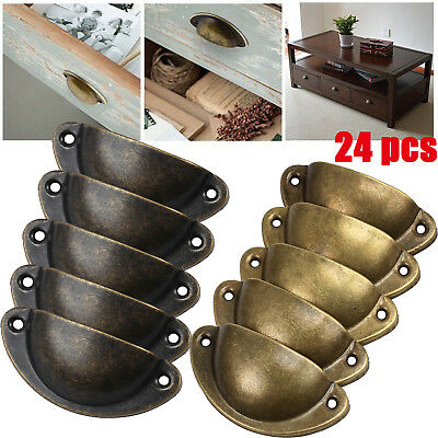 24pcs Antique Retro Shell Cabinet Knob Drawer Kitchen Cupboard Door Pull Handle