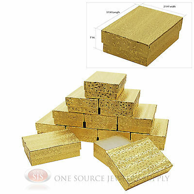 """12 Jewelry Gift Boxes Gold Foil Cotton Filled  3 1/4"""" X 2 1/4"""" Charm Bracelet"""