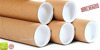 """A4 240mm (9"""") 50 mm 2"""" Cardboard Postal Tubes Packing Tubes with caps strong"""
