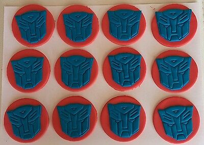 12 x TRANSFORMER CUPCAKE TOPPER EDIBLE BIRTHDAY CAKE