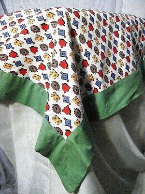 """30s/40s Novelty Feedsack Square Cotton Tablecloth Depression Green 40""""W x 48""""L"""
