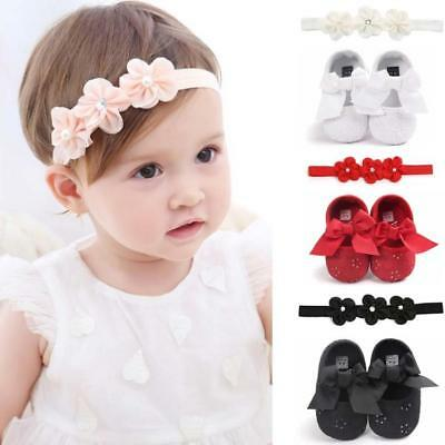 Toddler Infant Kid Baby Girls Bowknot First Walking Walkers Shoes+1PC Hairband