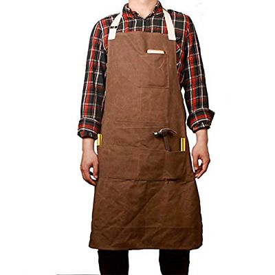 QEES Waxed Canvas Apron Men with Six Pockets Waterproof Thick Heavy Duty...