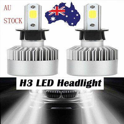 Pair of H3 200W LED Car Driving Headlights Conversion Globes Bulb Beam 6500K Kit