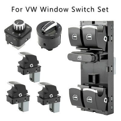 6x Chrome Window Headlight Mirror Switch Set for VW Passat B6 Golf MK5 MK6