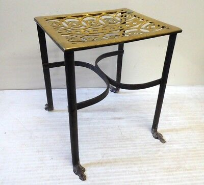 Antique Brass and Iron Trivet Fireplace Kettle Stand