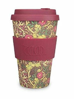 Ecoffee Cup William Morris Seaweed with Burgandy Silicone Coffee Cup 400ml