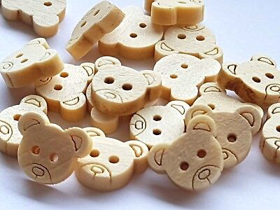 Natural Wooden Teddy Bear Buttons Embellishments 2 Hole 12Mm Crafts Sewing