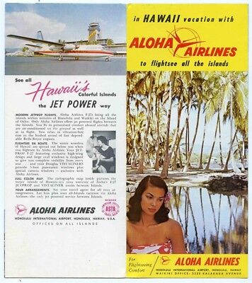 Aloha Airlines Flightsee All the Islands 1960s Pictorial Hawaii Map & Guide F-27