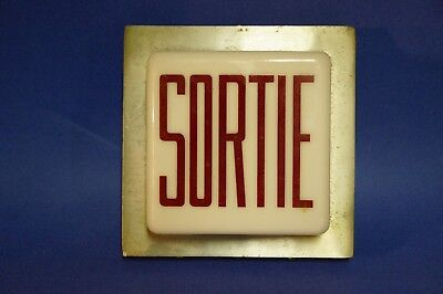 Rare Square Light Globe French Fixture Sign Exit / Sortie Milk Glass