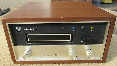 Claricon 49-420 8 Track Tape Player Deck Stereo / Amplifier Wood Case Working