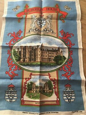 VINTAGE Tea Towel - Burghley House - Stamford - Pure Irish Linen