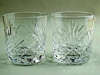X2 Vintage Cut Glass Crystal Whiskey Glasses Whiskey Tumblers