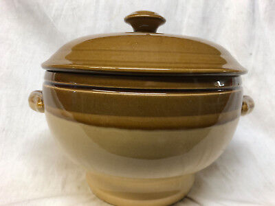 T.g. Green England Stoneware Granville Tureen With Lid 88 Oz Tan With Brown Edge