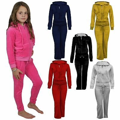 New  Girls Hooded Velour Pocket Zip Active Jogging Bottom Suit Tracksuit 7-13