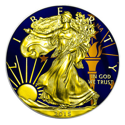 2015 1 oz Silver Coin American Eagle US States - INDIANA Flag - 24K Gold