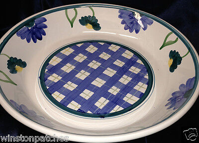 "Caleca Arioso Italy 14"" Large Salad Serving Bowl Blue & Yellow Plaid & Flowers"