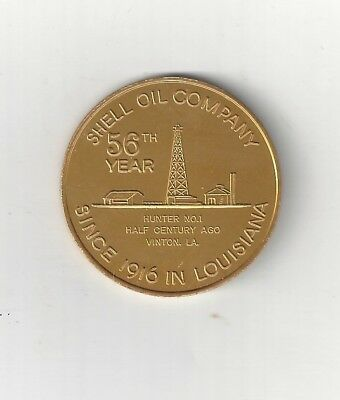 1972 Shell Oil Company Hunter #1 Rig Vinton One Shell Square Token Coin 56Th Yr