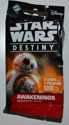 Star Wars Destiny Awakenings Booster Pack Lot of 5 Factory Sealed!