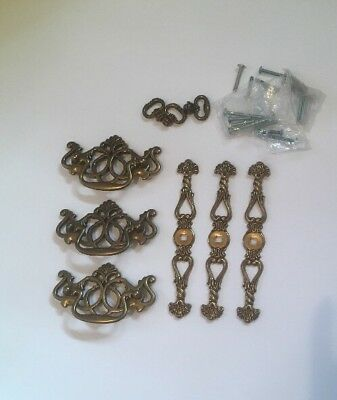Lot of 3 Batwing Brass Drawer Pulls  Centers With 3 Pull Knobs W Plates Hardware
