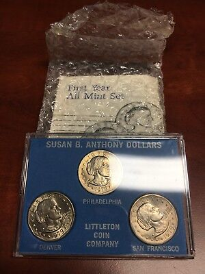 Susan B Anthony Dollars 1979 P D S - First Year 3 Coin Set Littleton Coin Co UNC