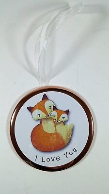 Button Ornament - 3 1/2 in. Woodland Creature Foxes - I LOVE YOU VALENTINE