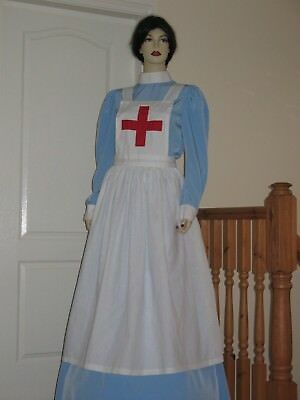 WWI/Red Cross/Military Style NURSE SKIRT, BLOUSE & APRON  Approx Size UK 14
