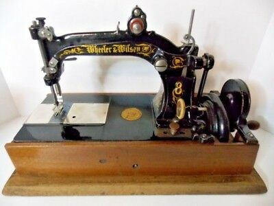 Antique Wheeler & Wilson 1878 Rare Hand Crank Sewing Machine in Wooden Case EUC