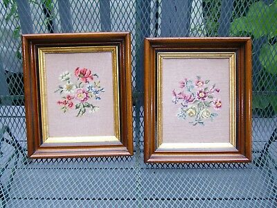 Matched Pair Deep Antique Vintage Walnut or Mahogany Gilt Picture Frames & Glass