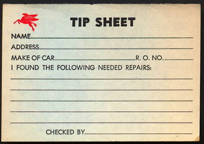 Five 1940s Mobil Oil Pegasus Flying Horse Service Station Tip Sheets