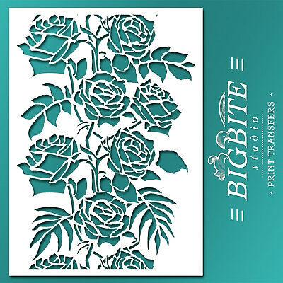 Shabby Chic STENCIL: Wild Roses Floral Pattern Vertical (Furniture Print) #045