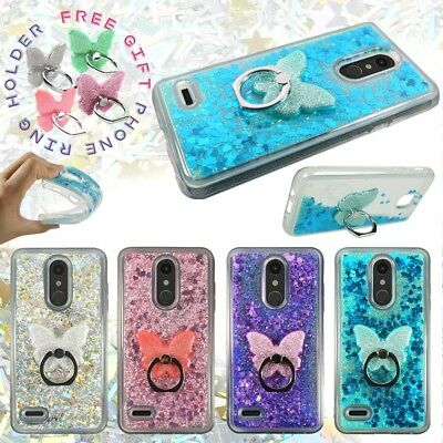 For LG Phoenix Plus / Harmony 2, Liquid Glitter Bling Clear Rubber Case w Ring