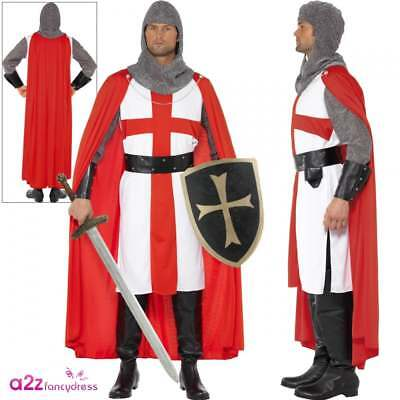 Mens 6Pc Deluxe St Georges Day Knight Medieval Fancy Dress Costume Outfit STD XL