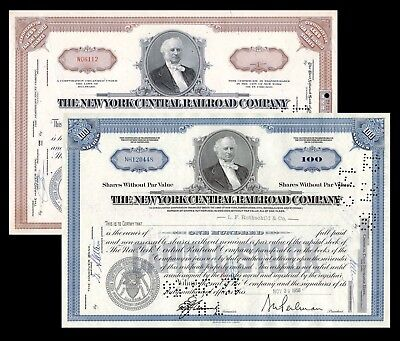 New York Central Railroad (NYC RR) Mid 20th Century Stock Certificate Set F+