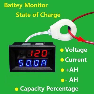 Battery Monitor 5-120V 50A Voltage Current Remaining Capacity Meter Sensor (S99)