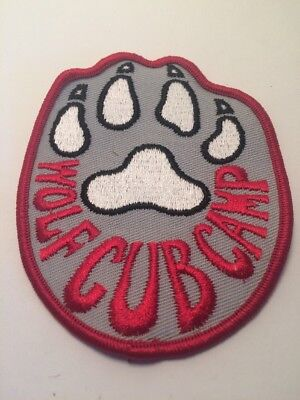 "Vtg Scouts Canada  Wolf Cub Camp Sew On Embroidered Patch  3 3/4"" Scouting"