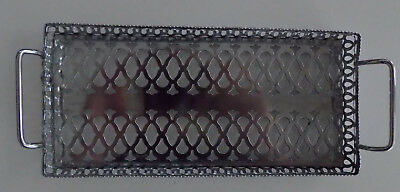Pierced chrome rectangular serving tray with handles - vintage 1950's