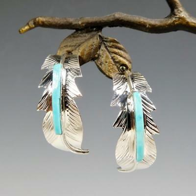 Native American Navajo Sterling Silver Turquoise Inlay Feather Hoop Earrings