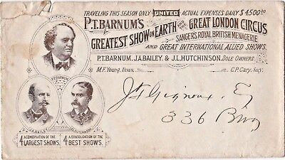 Early P. T. Barnum Circus Envelope / Cover
