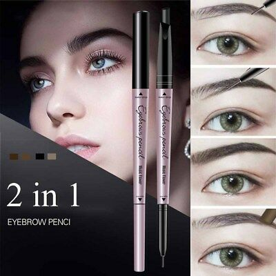 2 in 1 Waterproof Eyebrow Liner Tint Pen Micro Carving Eyeliner Pencil Lasting