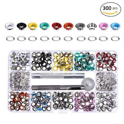 300pcs Colorful Eyelet Buckle Snap Fasteners Buttons Press Studs Fixing Tool Kit
