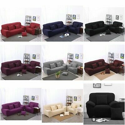 Solid Stretch Sofa Cover Lounge Couch Removable Slipcover Washable 1 2 3 4 Seat