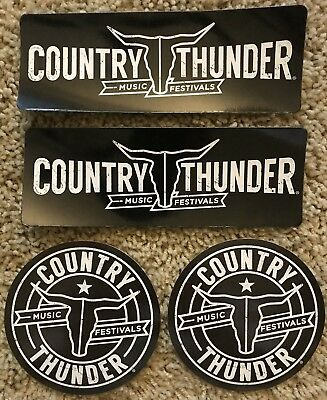Country Thunder Music Festivals 2 Round Stickers 2 Refrigerator Magnets WI. AZ.
