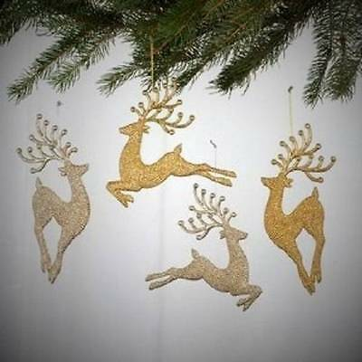 Kurt Adler Champagne and Gold Diamond Reindeer Deer Ornament Lot Set Of 4