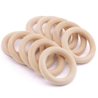 20Pcs 65mm Baby Infant Natural Wooden Teething Rings Necklace Bracelet Crafts